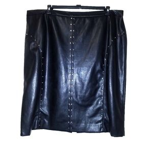 Black Faux Leather Studded Skirt